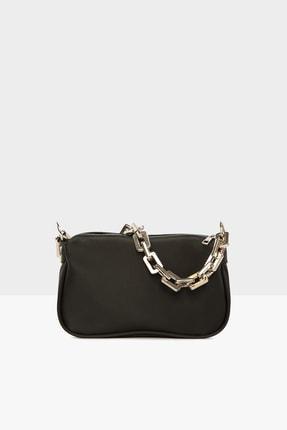Bagmori Siyah Kadın Plastik Zincirli Saten Baget Çanta M000004780 0