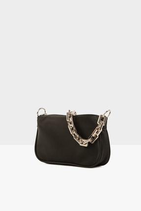 Bagmori Siyah Kadın Plastik Zincirli Saten Baget Çanta M000004780 1