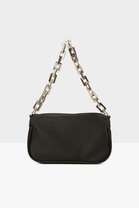 Bagmori Siyah Kadın Plastik Zincirli Saten Baget Çanta M000004780 2