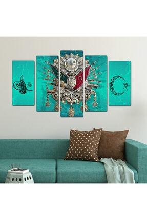 bu tablolar harika Osmanli Arma Turkuaz Ay Yıldız Dekoratif 5 Parçalı Tablo 0
