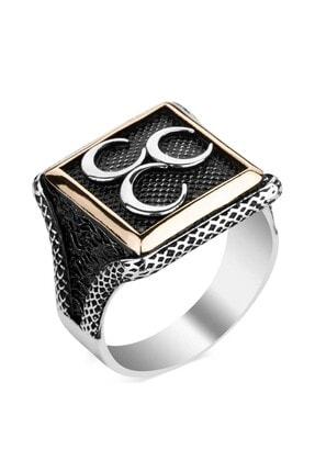 Anı Yüzük Üç Hilalli Kare Tasarım Erkek Gümüş Yüzüğü 0