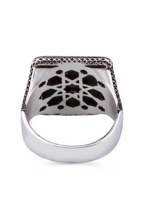 Anı Yüzük Üç Hilalli Kare Tasarım Erkek Gümüş Yüzüğü 2