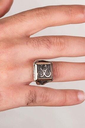 Anı Yüzük Üç Hilalli Kare Tasarım Erkek Gümüş Yüzüğü 3