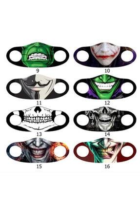 Angelino Moda Maske Joker Baskı No 22 Yıkanabilir Yetişkin Yüz Maskesi 2