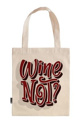Mespho Wine Not 35x40 cm. Baskılı Ham Bez Çanta 0