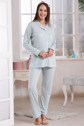 Emose 4095 Düğmeli Kadın Pijama Takım Mint Yeşil 0
