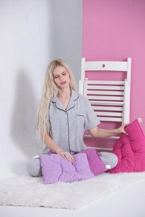 Pijama Denizi Gri - Saten Biyeli Lüks Pamuklu Likralı Kısa Kollu Gömlek Yaka Düğmeli Pijama Takımı 2