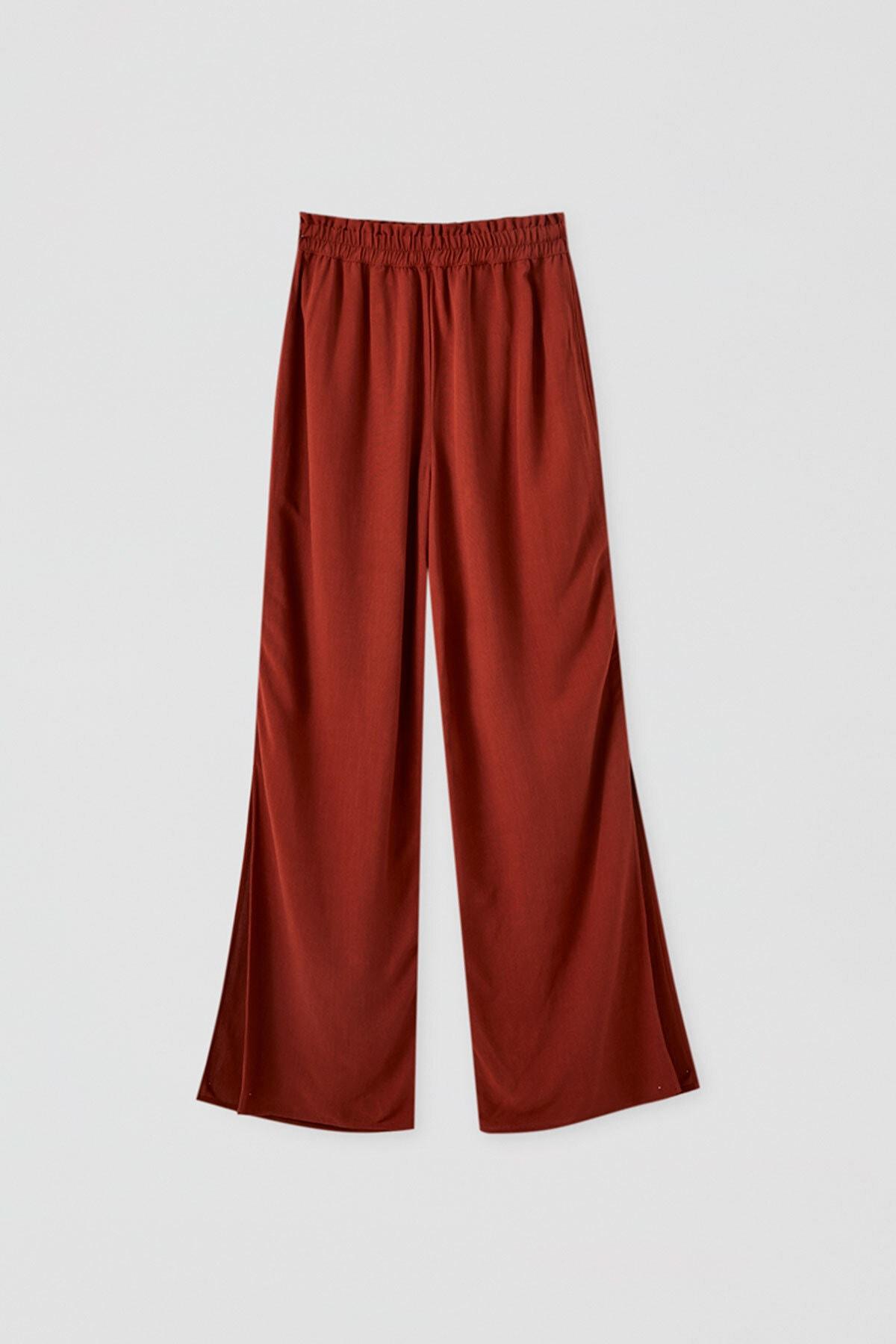 Pull & Bear Kadın Terrakota Elastik Belli Dökümlü Pantolon 09672308 0
