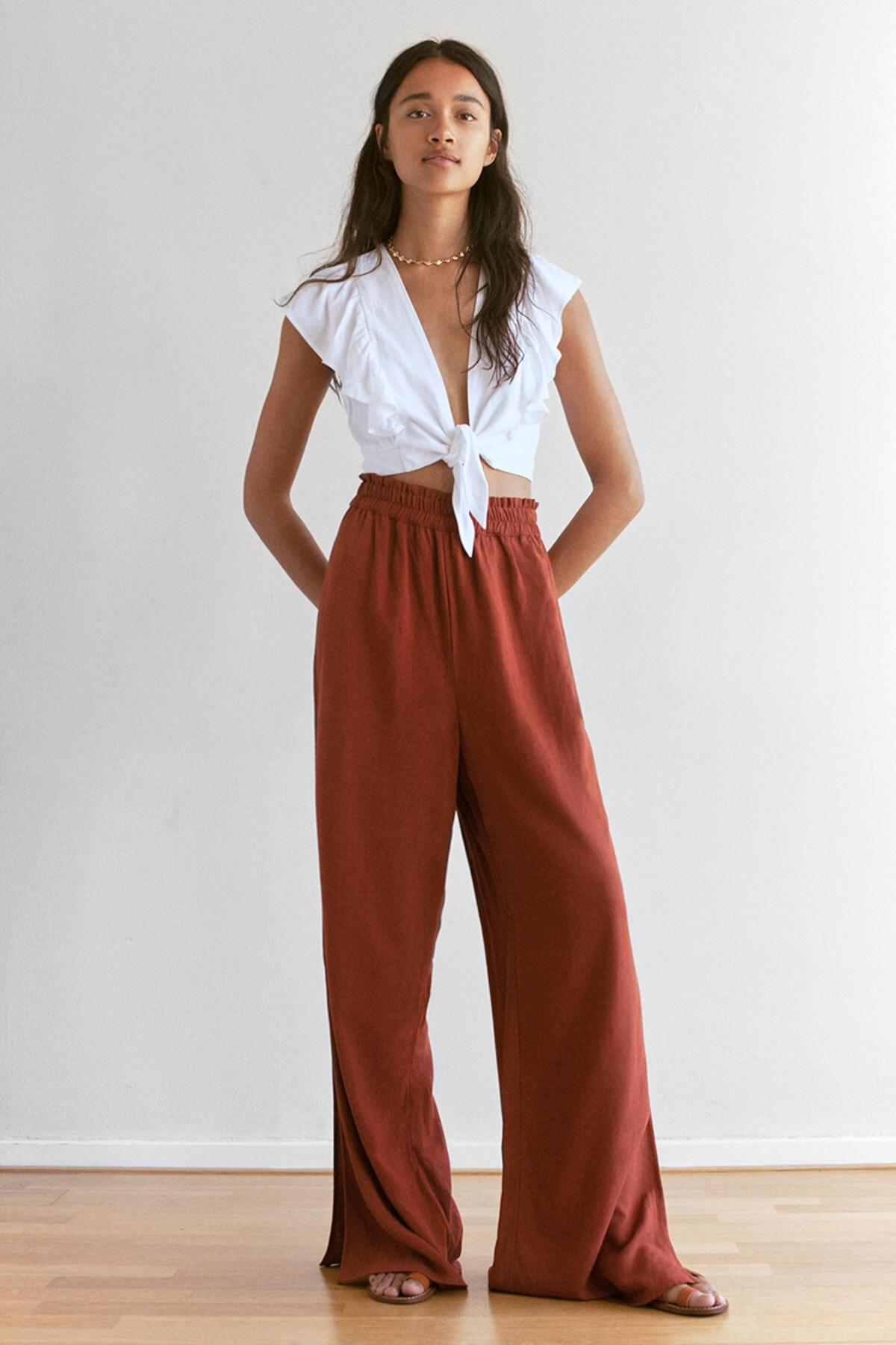 Pull & Bear Kadın Terrakota Elastik Belli Dökümlü Pantolon 09672308 1