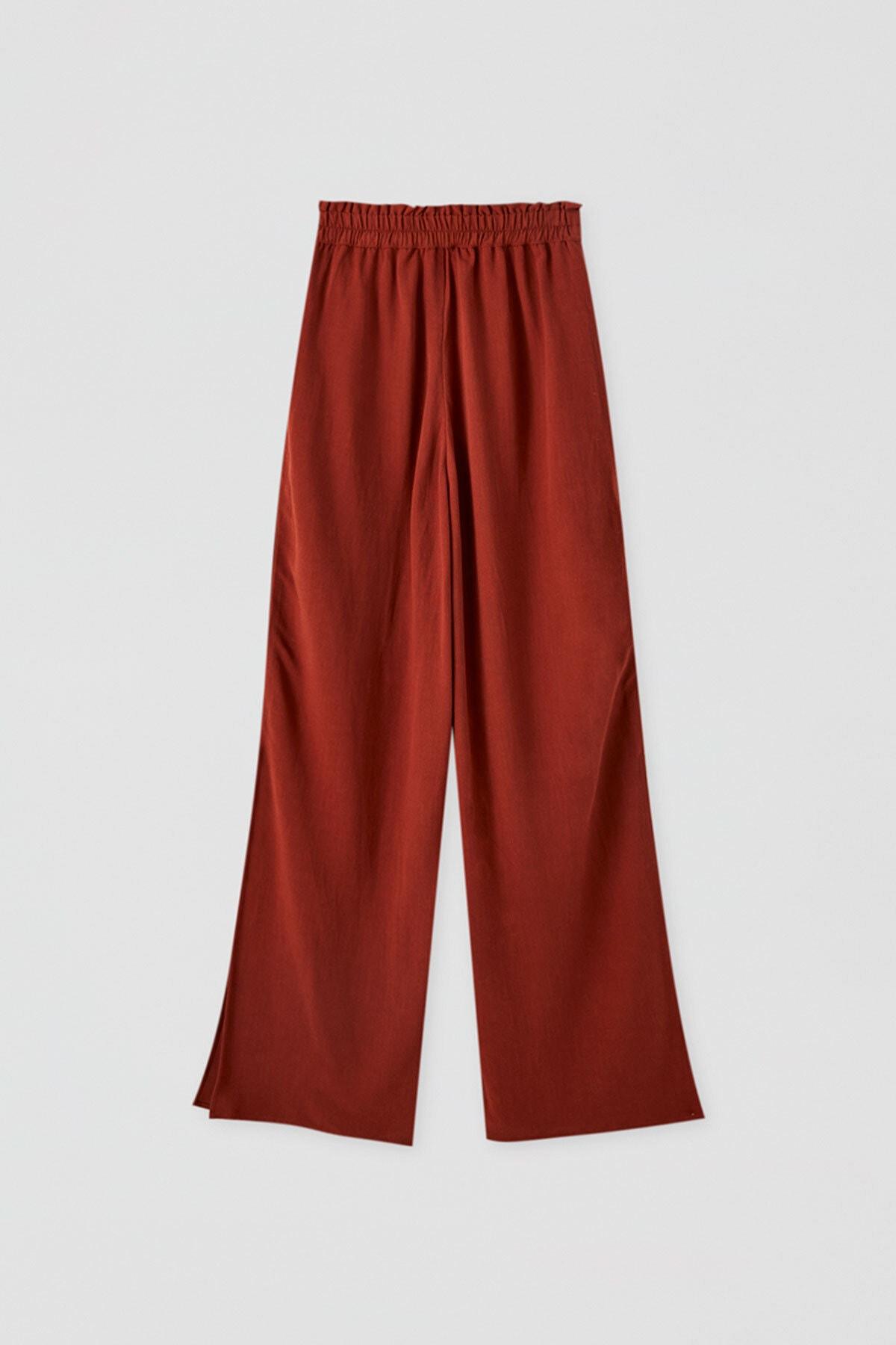 Pull & Bear Kadın Terrakota Elastik Belli Dökümlü Pantolon 09672308 3