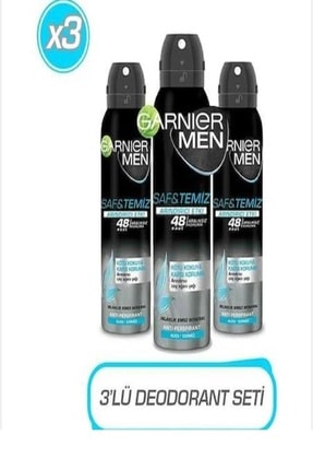 Garnier Men Saf & Temiz Erkek Deodorant 150 Ml X 3 Adet 0