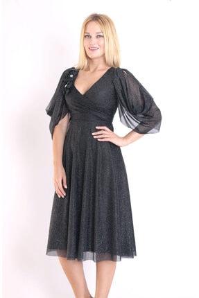 Moda Tuğram Kadın Siyah 3d Kumaş Abiye 1