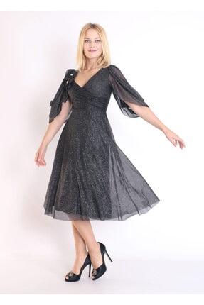 Moda Tuğram Kadın Siyah 3d Kumaş Abiye 4
