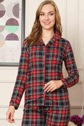ALİMER Bayan Yazlık Uzun Kollu Pijama Takımı Önden Düğmeli Ekose Desen 2