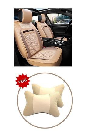 AutoFresh Dacia Lodgy Oto Koltuk Başlığı Uyumlu Bej Boyun Destek Yastığı Ortopedik Lüks Suni Deri Terletmez 1
