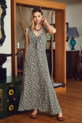 Clandestino Otantik V Yaka Sırt Detaylı Çiçek Desenli Elbise 1