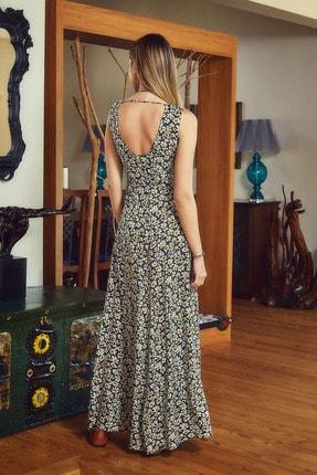 Clandestino Otantik V Yaka Sırt Detaylı Çiçek Desenli Elbise 3