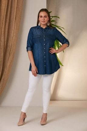 Rmg Kadın Kim.Mavi Büyük Beden Kim Mavi Gömlek O4235 3