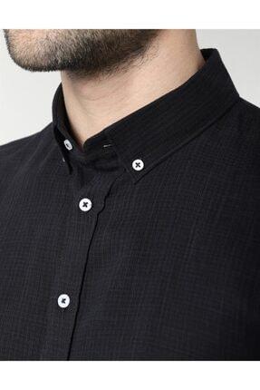 Tudors Erkek  Siyah Slim Fit Keten Spor Gömlek 3