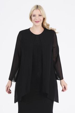 Oktay Kadın Siyah Şifon Ithal Krep Önü Taşlı Bluzan Abiye Elbise 1