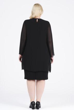 Oktay Kadın Siyah Şifon Ithal Krep Önü Taşlı Bluzan Abiye Elbise 3