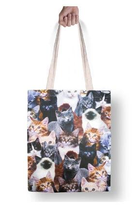 DesenBlue Kedi Baskılı Yıkanabilir Ham Bez Çanta 0