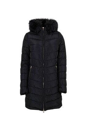 Only Siyah Kadın Montu 15183994-black Onlellan Quilted Hood Fur Coat Otw 0