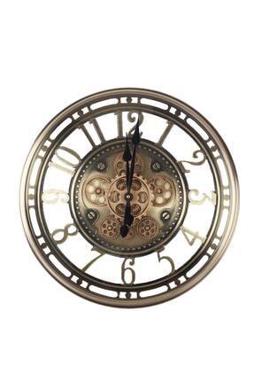 ACAR Loft Sessiz Çarklı Duvar Saati - Gold 0