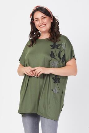 Siyezen Büyük Beden Haki Yeşili Salaş Sarmaşık Yaprak Baskılı T-shirt 2