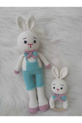 OYUNCAKPARK Şık Tavşan Uyku Arkadaşı Ve Çıngırak Yeni Doğan Seti 0