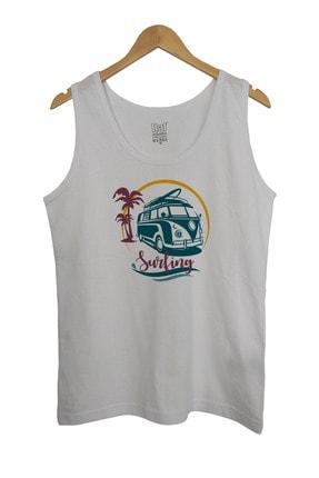 Raf Coll Erkek Vosvos Surfing Baskılı Askılı Beyaz T-shirt 1