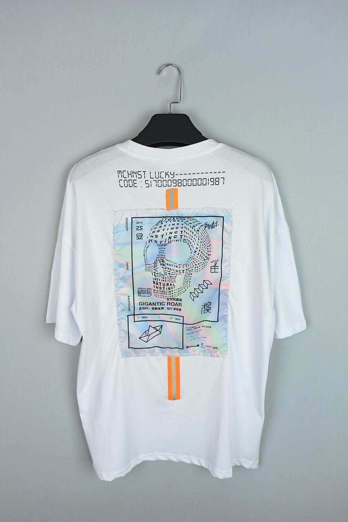 Old School Electronic Beyaz Oversize Tişört