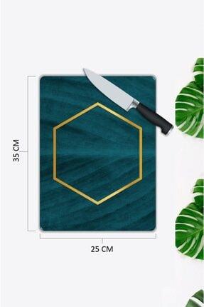 Pi Dekorasyon Mavi Mermer Görünümlü   Cam Kesme Tahtası   25 Cm X 35 Cm 1