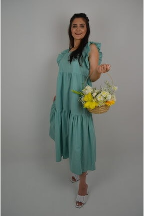 Kadın Su Yeşili Elbise 123elb01