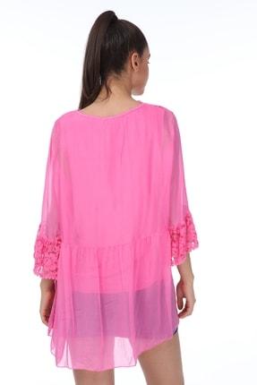 Luısıdo Kadın Pembe V Yaka Çiçek Işemeli Ipek Bluz 3