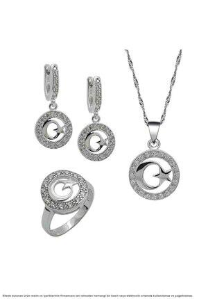 Çağrı Gümüş Gümüş Ayyıldız Temalı Üçlü Set Takı 0