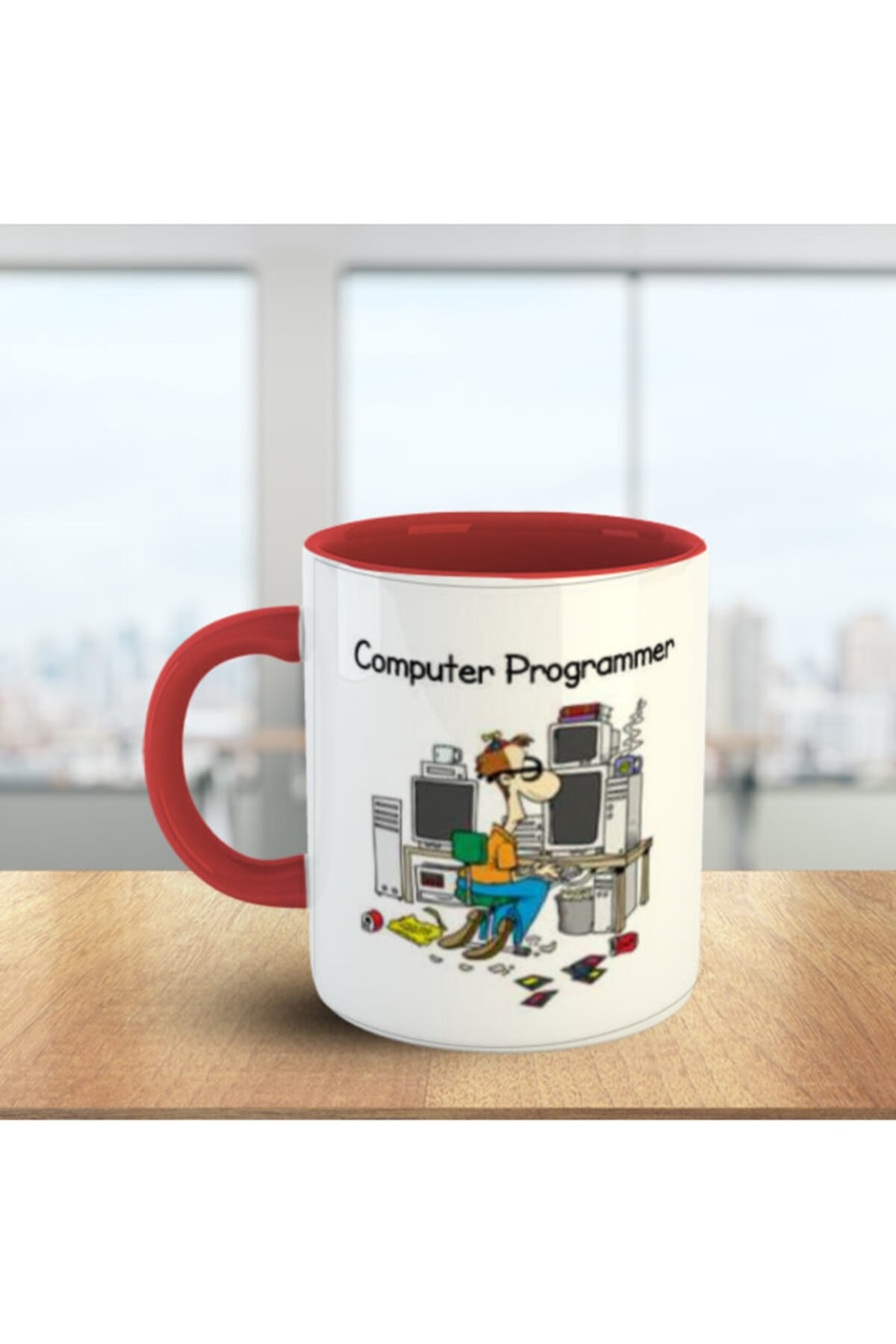 Computer Programmer (bilgisayar Programcısı) Kırmızı Beyaz Meslek Kupa