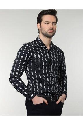 Tudors Erkek Siyah Slim Fit Likralı Spor Gömlek 1