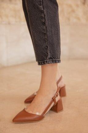 Straswans Kadın Taba Deri Topuklu Ayakkabı-Roy 1
