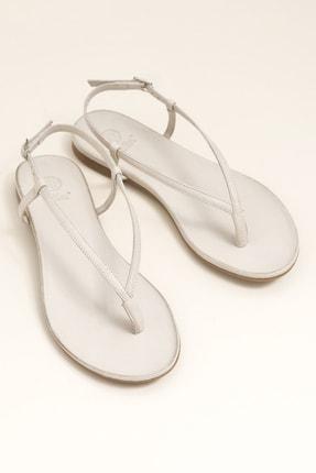 Elle MANISHA Hakiki Deri Kemik Rengi Kadın Sandalet 0