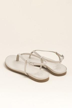 Elle MANISHA Hakiki Deri Kemik Rengi Kadın Sandalet 2
