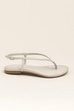 Elle MANISHA Hakiki Deri Kemik Rengi Kadın Sandalet 3