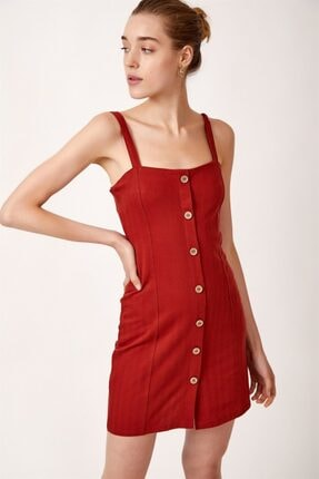 Never more Kadın Kırmızı Düğmeli Askılı Elbise 1