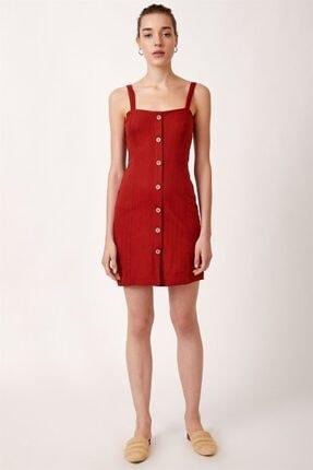 Never more Kadın Kırmızı Düğmeli Askılı Elbise 3