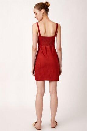 Never more Kadın Kırmızı Düğmeli Askılı Elbise 4