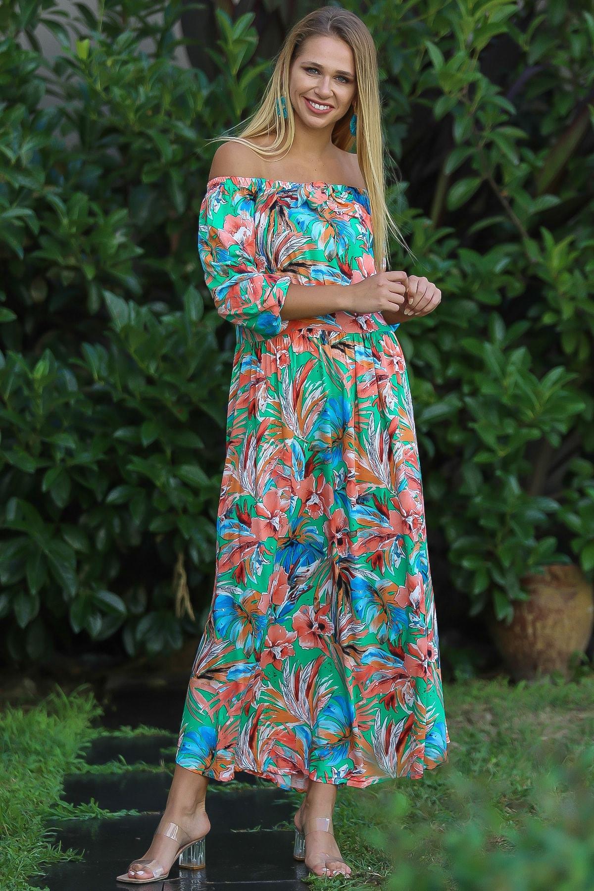 Chiccy Kadın Yeşil Bohem Carmen Yaka Sırtı Fermuar Detaylı Yırtmaçlı Uzun Elbise M10160000El96499 3
