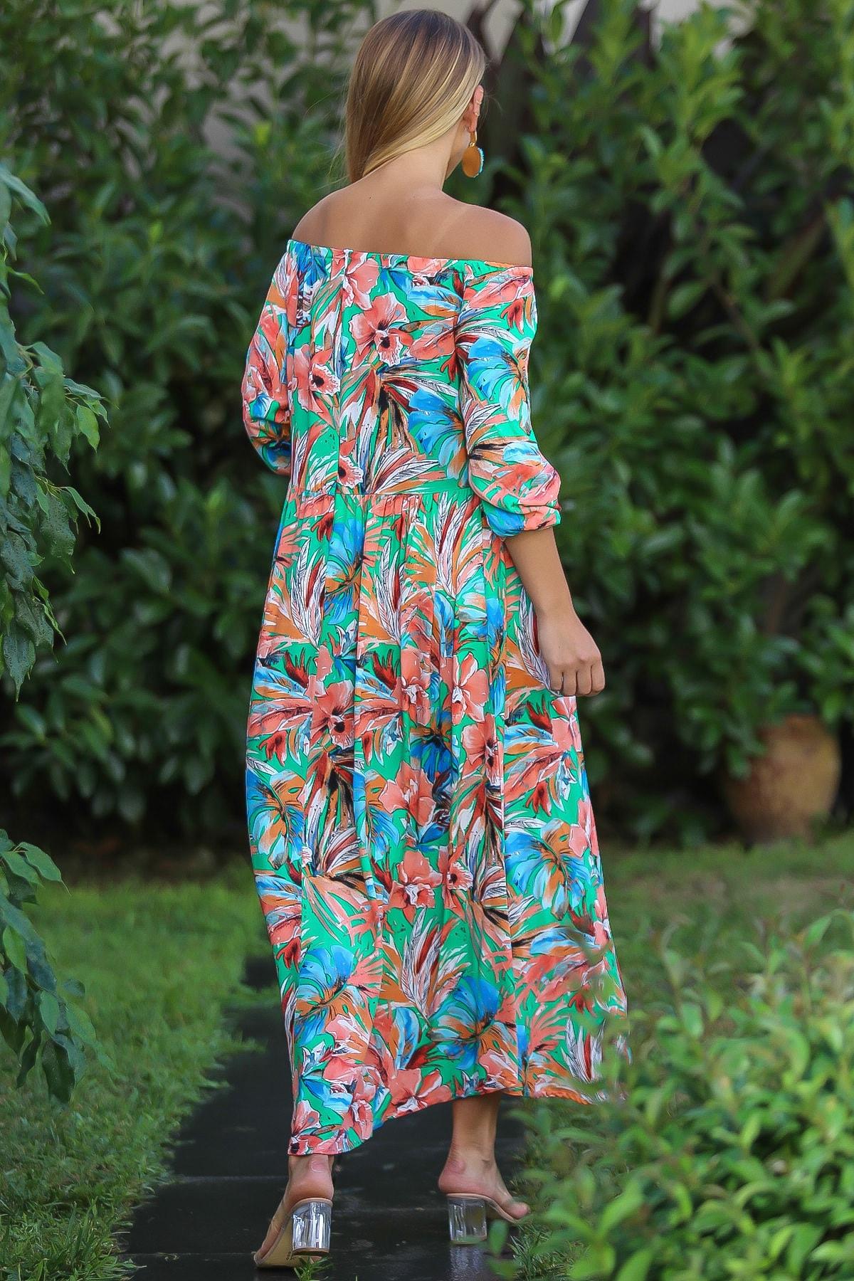 Chiccy Kadın Yeşil Bohem Carmen Yaka Sırtı Fermuar Detaylı Yırtmaçlı Uzun Elbise M10160000El96499 4
