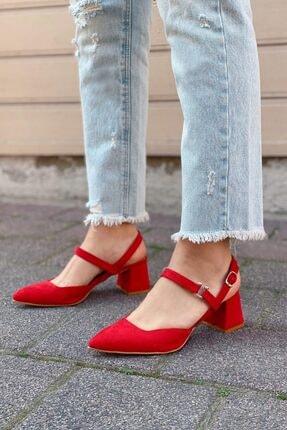 Straswans Xiomara Kadın Kırmızı Süet Topuklu Ayakkabı 1