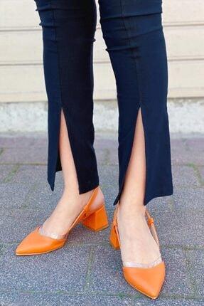 Straswans Kadın Turuncu  Deri Topuklu Ayakkabı 1