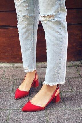 Straswans Kadın Kırmızı Süet Topuklu Ayakkabı 1